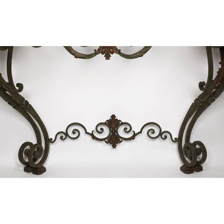 Patinated Fine French Louis XV Style Wrought Iron Wall-Mounting Console with Marble Top For Sale