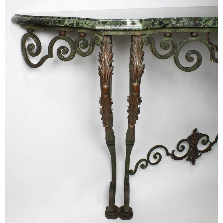 20th Century Fine French Louis XV Style Wrought Iron Wall-Mounting Console with Marble Top For Sale