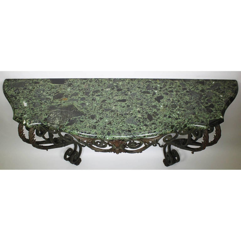 Metal Fine French Louis XV Style Wrought Iron Wall-Mounting Console with Marble Top For Sale