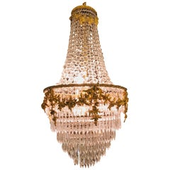 Fine French Louis XVI Style Gilt Bronze 3-Light Swag Form Crystal Chandelier