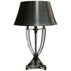 Fine French Midcentury Metal and Glass Table Lamp Attributed to Sabino