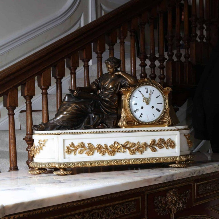 Cast Fine French Neoclassical Marble and Gilt Bronze Ormolu Mantel Clock For Sale