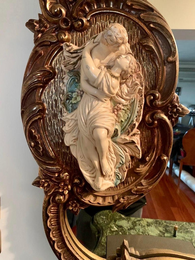 Hand-Carved Fine French Ormolu-Mounted Commode a Vantaux with a Mirror, Late 19th Century For Sale