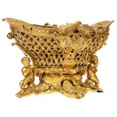 Fine French Rococo Ormolu Bronze Basket Centerpiece with Putti, Henri Picard