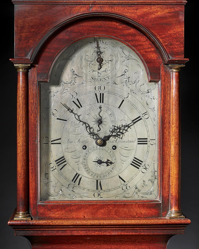 Chippendale Fine George III 18th Century Period Mahogany Longcase Clock by Tomas Fowle For Sale