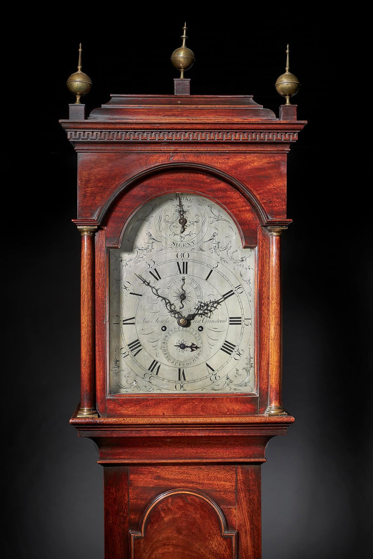 English Fine George III 18th Century Period Mahogany Longcase Clock by Tomas Fowle For Sale