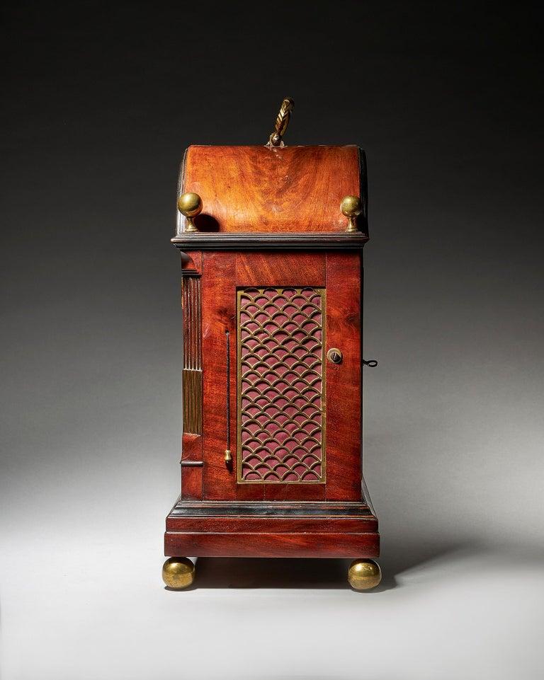 Regency Fine George III Eight-Day Striking Mahogany Bracket Clock with Trip Repeat For Sale