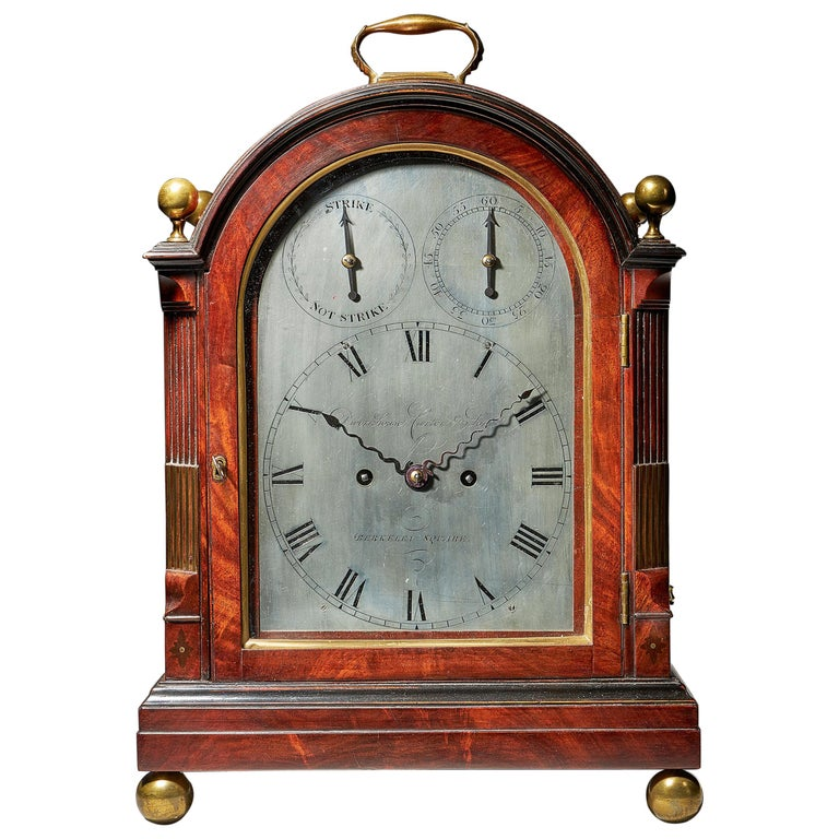 Fine George III Eight-Day Striking Mahogany Bracket Clock with Trip Repeat For Sale