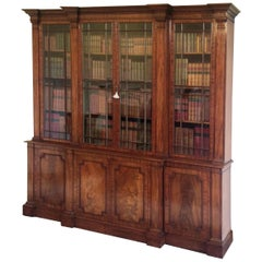 Fine George III Period Mahogany 'Gillows' Breakfront Bookcase