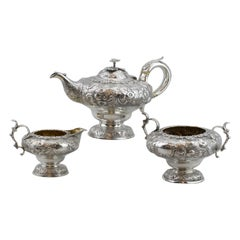 Fine George IV Three-Piece Tea Service, Silver, 1830