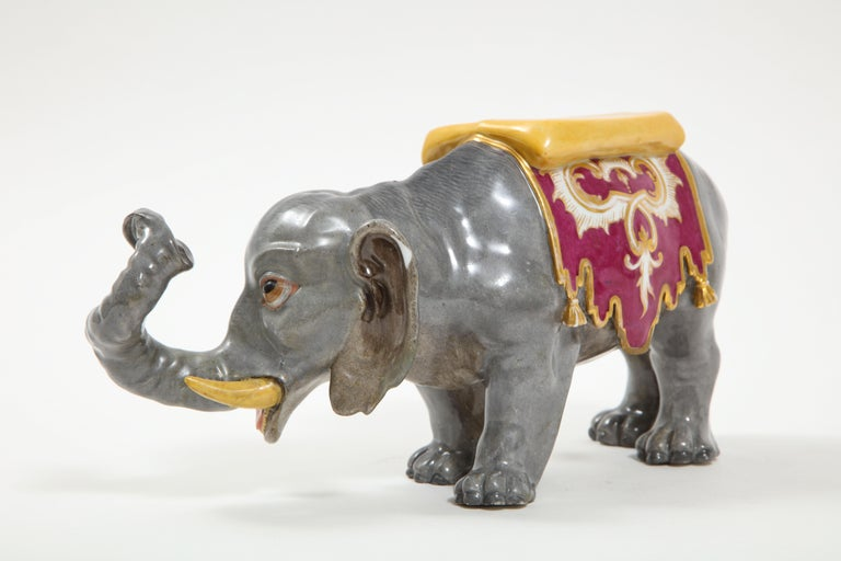 Islamic Fine Hand-Painted Meissen Porcelain Model of an Indian Elephant with a Saddle For Sale