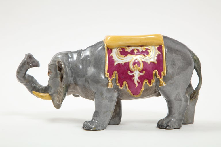 German Fine Hand-Painted Meissen Porcelain Model of an Indian Elephant with a Saddle For Sale