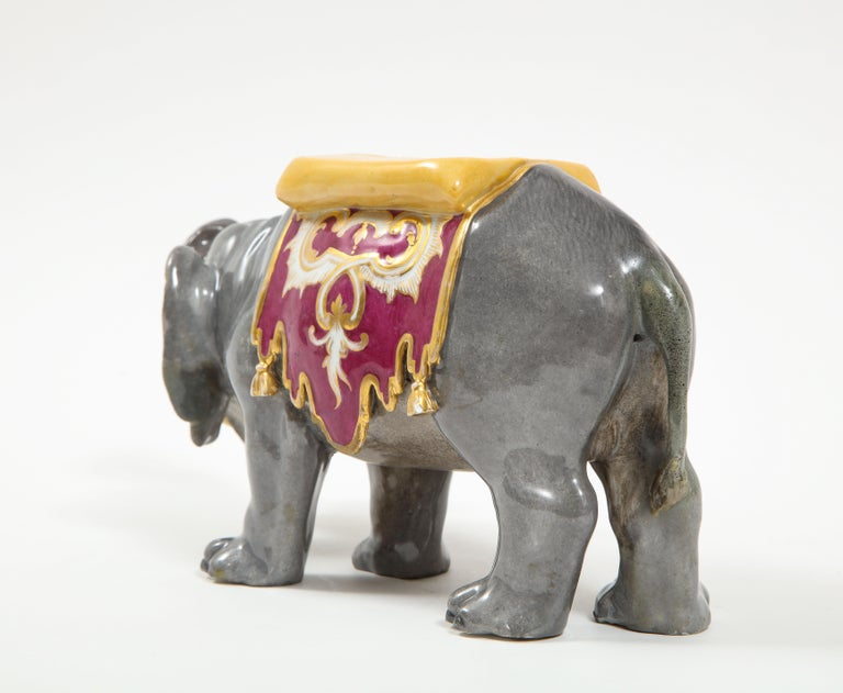 Fine Hand-Painted Meissen Porcelain Model of an Indian Elephant with a Saddle In Good Condition For Sale In New York, NY