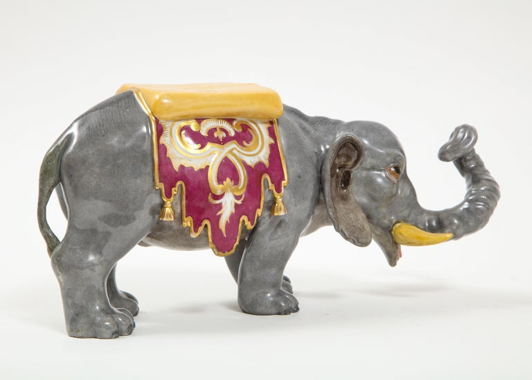Fine Hand-Painted Meissen Porcelain Model of an Indian Elephant with a Saddle For Sale 1