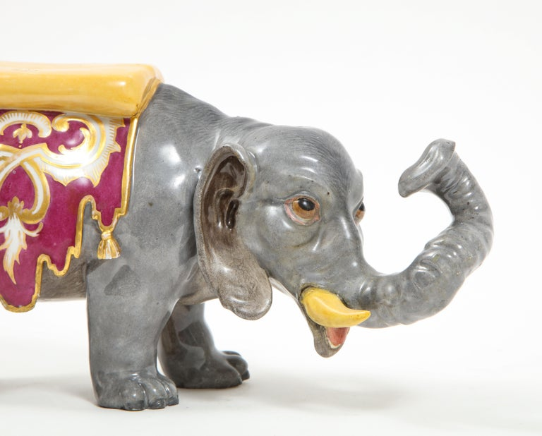 Fine Hand-Painted Meissen Porcelain Model of an Indian Elephant with a Saddle For Sale 2