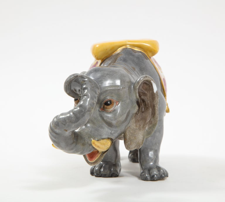 Fine Hand-Painted Meissen Porcelain Model of an Indian Elephant with a Saddle For Sale 3