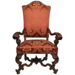 Fine Italian 19th Century Florentine Carved Walnut Throne Armchair