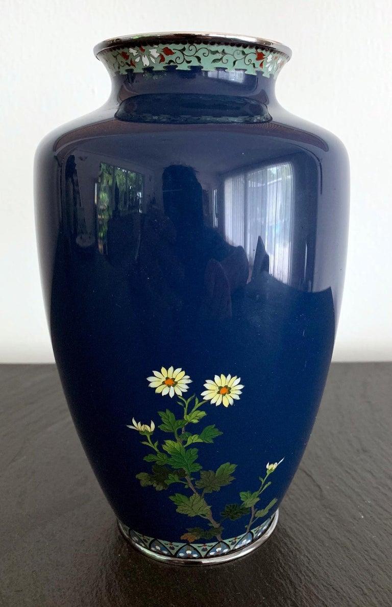 Japonisme Fine Japanese Cloisonne Vase by Hayashi Kodenji For Sale