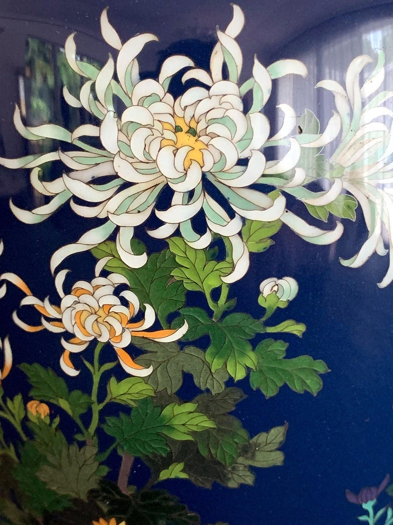 Cloissoné Fine Japanese Cloisonne Vase by Hayashi Kodenji For Sale