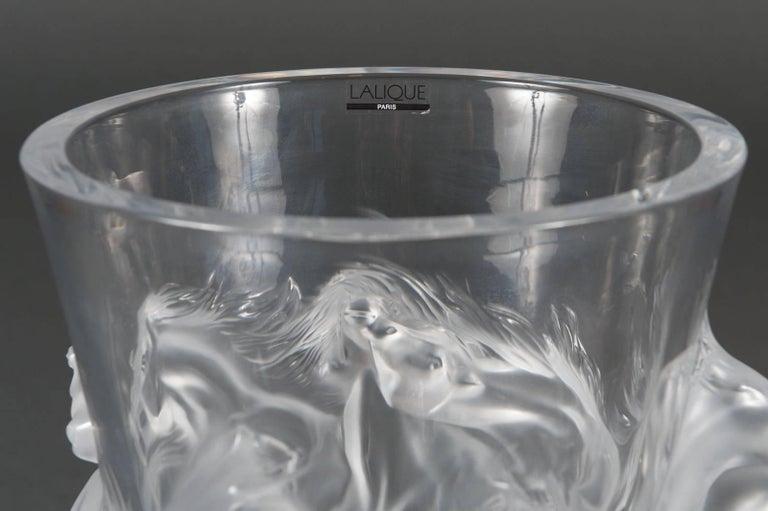 Fine Lalique France Limited Edition Equus Crystal Vase For Sale 2