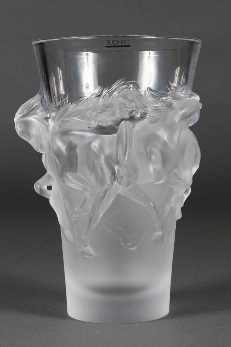 Fine Lalique France Limited Edition Equus Crystal Vase For Sale 3