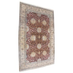 Fine Large and Palatial Persian Nain Hand-Knotted Wool and Silk Pile Area Rug