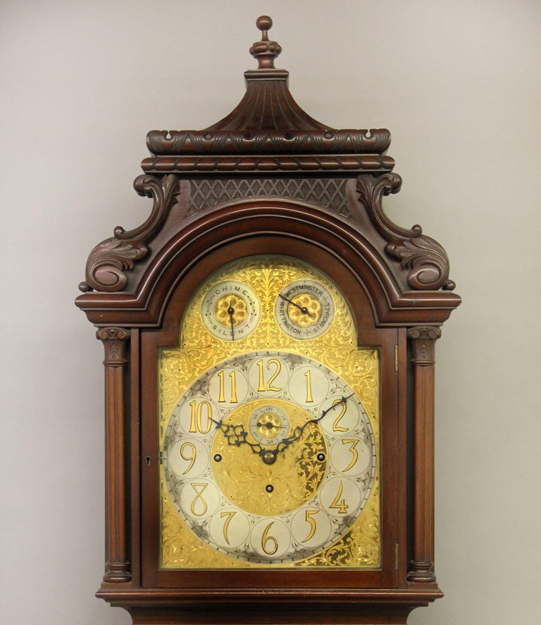 Victorian Fine Late 19th Century English Carved Nine Tube Longcase Grandfather Clock For Sale