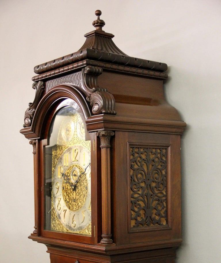 Fine Late 19th Century English Carved Nine Tube Longcase Grandfather Clock In Good Condition For Sale In New York, NY