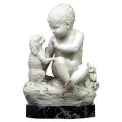 Fine Late 19th Century Italian White Carrara Marble of a Child and Dog