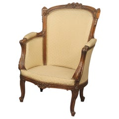 Fine Late 19th Century Louis XV Style Carved Wood Bergère