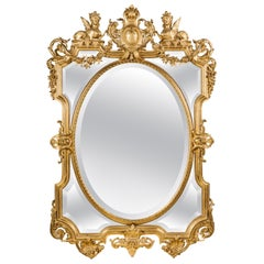 Fine Louis XIV Style Carved Giltwood Marginal Frame Mirror, circa 1890