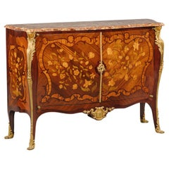 Fine Louis XV Style Gilt-Bronze Mounted Marquetry Inlaid Commode