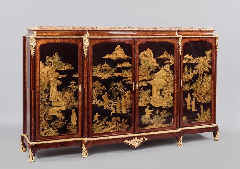 French Fine Louis XV Style Japanned Side Cabinet by Henri Nelson, circa 1900 For Sale