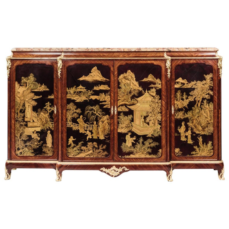 Fine Louis XV Style Japanned Side Cabinet by Henri Nelson, circa 1900 For Sale