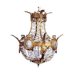 A Fine Louis XVI Style Bronze & Crystal Chandelier