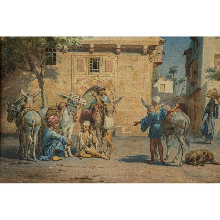 Title: Congregating in the Courtyard Artist: Willem de Famars Testas (Dutch, 1834–1896) Date: Circa 1862 Medium: Watercolor on paper Dimension: 8 1/4 in. x 12 in.