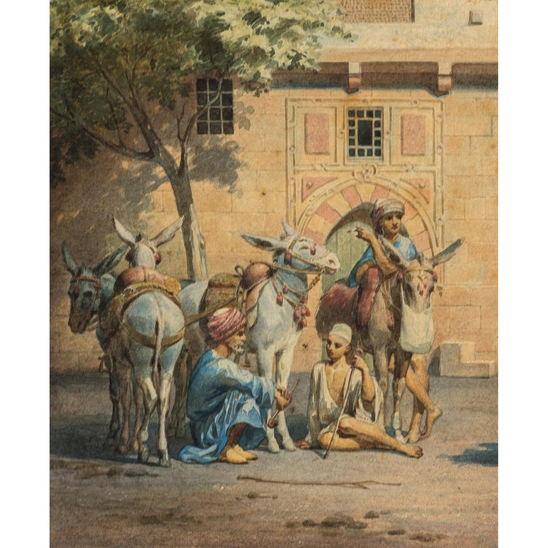 Fine Orientalist Watercolor Painting by W. Testas In Good Condition For Sale In New York, NY