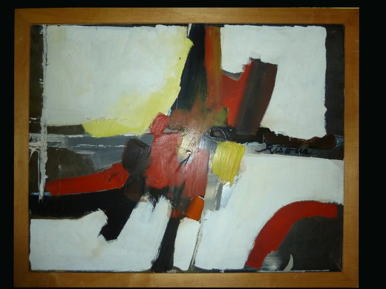 An colorful and decorative contemporary abstract oil painting in bright shades of red, yellow, white and black. This painting is signed by the artist in the middle, right side, 'Risolia', and was done in the late 20th century.