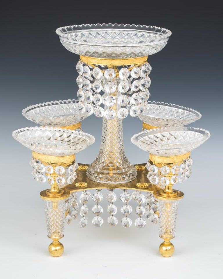 Regency Fine Ormolu and Cut Glass Epergne by John Blades For Sale