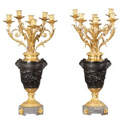 A Fine Pair of 19th Century Candelabra After Claude-Michel Clodion
