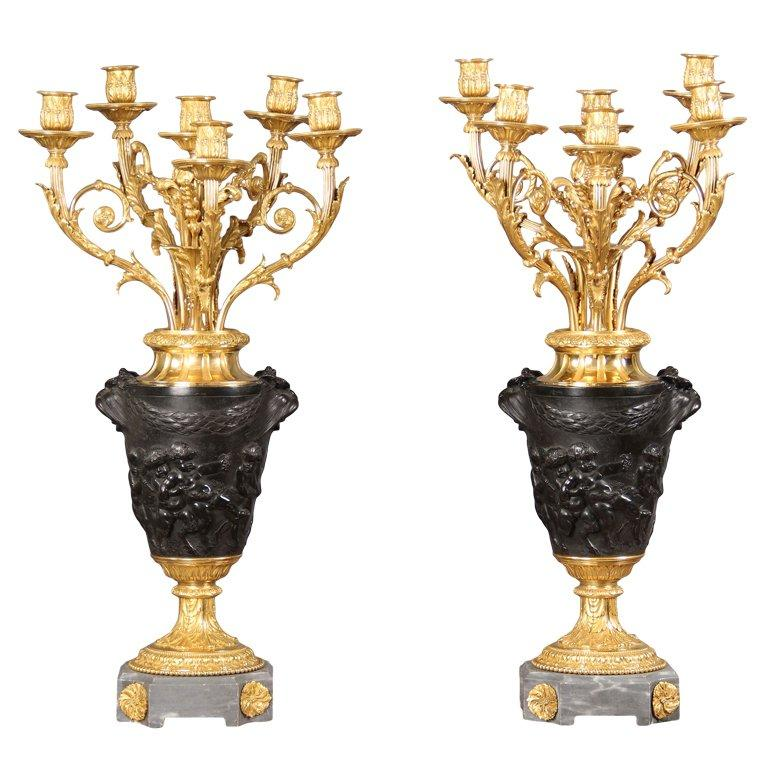A Fine Pair of 19th Century Candelabra After Claude-Michel Clodion For Sale