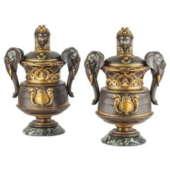 Fine Pair of 19th Century Egyptian Revival Gilt and Patinated Vases with Lids