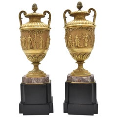 Fine Pair of 19th Century French Classical Gilt Bronze Urns, Barbedienne Style