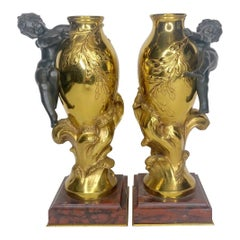 Fine Pair of 19th Century Gilt Bronze Vases by Auguste Moreau