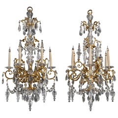 Fine Pair of Cut-Glass and Gilt-Bronze Six-Light Chandeliers, circa 1890