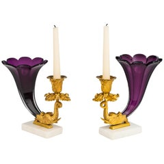 Fine Pair of Early Victorian Amethyst Cornucopia Candlesticks
