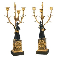 A Fine Pair of Empire Ormolu & Patinated Bronze Candelabra