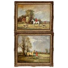 Fine Pair of English Fox Hunting-Sporting Paintings
