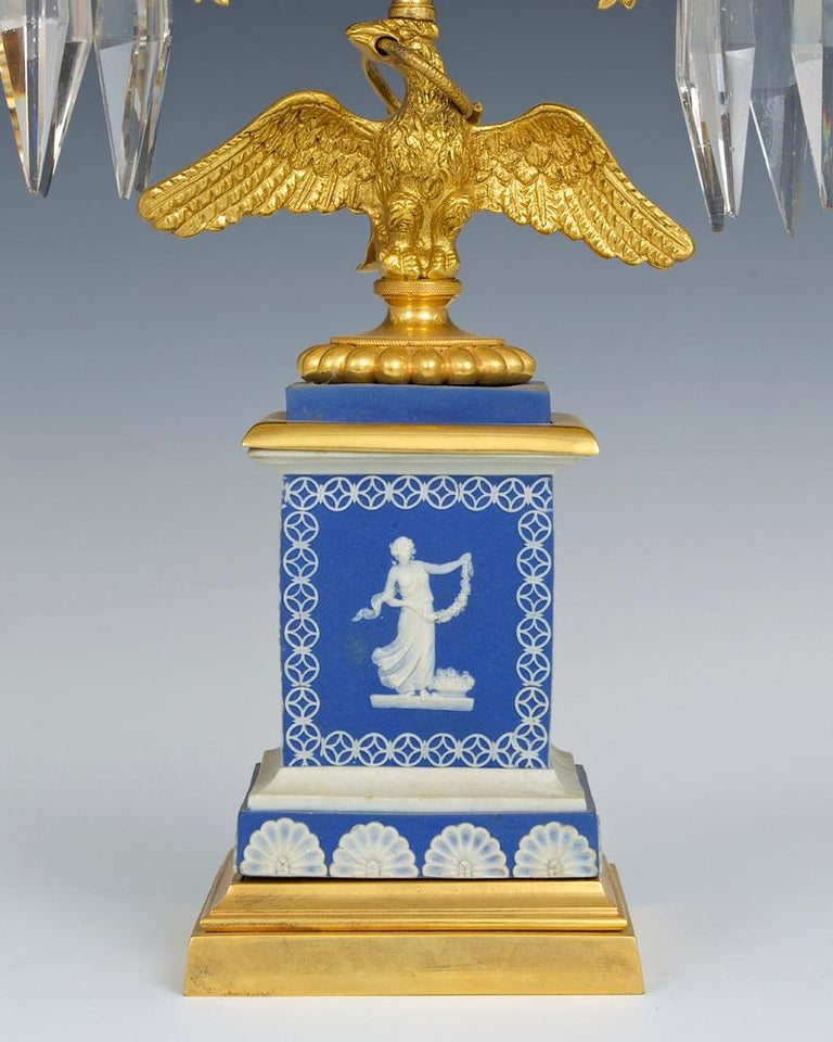 British Fine Pair of English Regency Period Candelabra on Blue Wedgwood Bases For Sale
