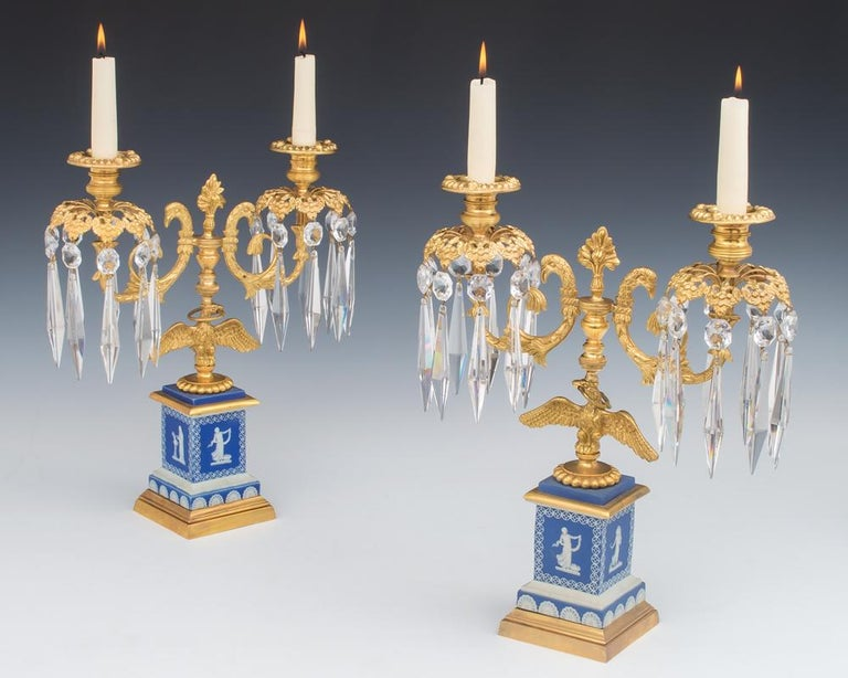 Fine Pair of English Regency Period Candelabra on Blue Wedgwood Bases In Good Condition For Sale In Steyning, West sussex
